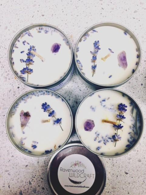 restorative intention candle amethyst crystals aromatherapy lavender